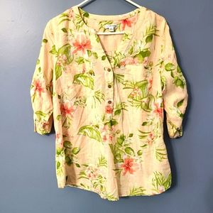 Croft and Barrow tropical flowers button up